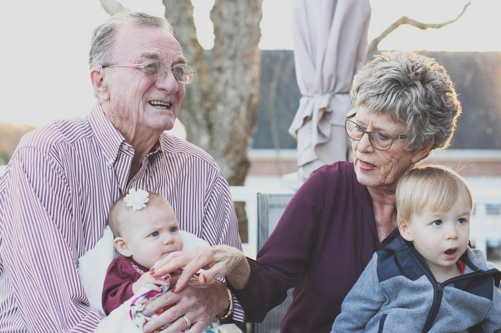 grandparents get visitors at their nursing home