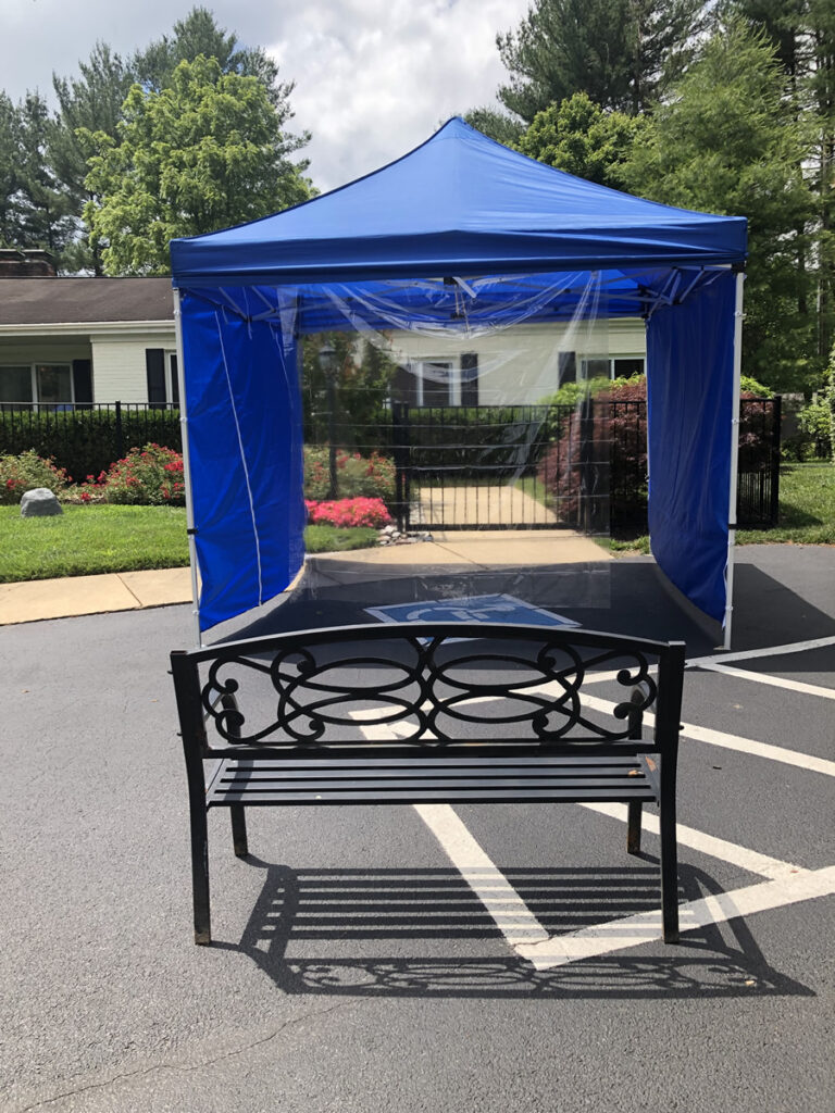 Medical tents for socially distanced visitation in assisted living